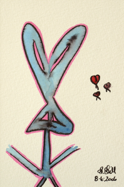 bunny rabbit, three hearts