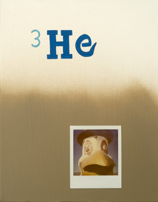 Helium 3, polaroid, mixed media,