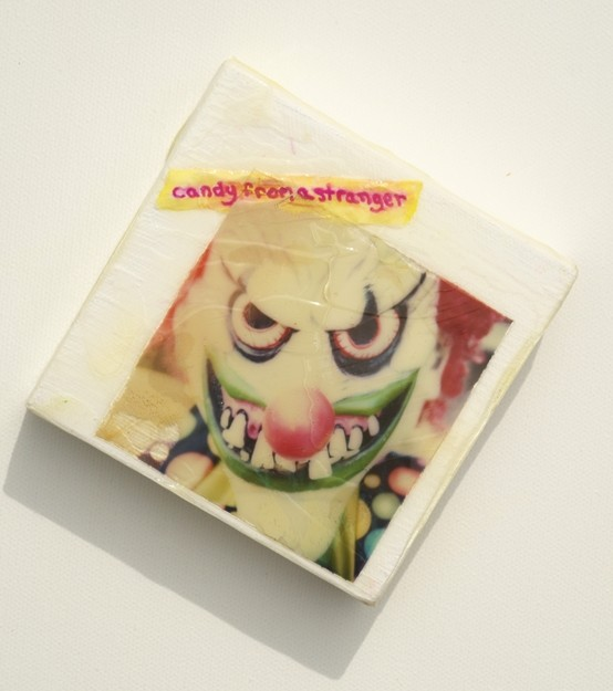 candy from a stranger, scary clown,
